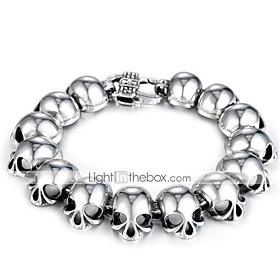 Men's Chain Bracelet Vintage Bracelet Vintage Style 3D Skull Vintage Punk Silica Gel Bracelet Jewelry Black For Halloween Street / Titanium Steel