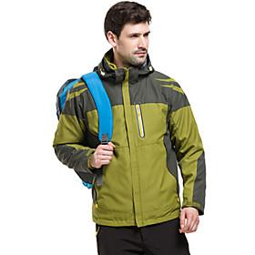 Men's Hoodie Jacket Hiking 3-in-1 Jackets Hiking Jacket Winter Outdoor Solid Color Waterproof Windproof Breathable Rain Waterproof 3-in-1 Jacket Top Single Sli