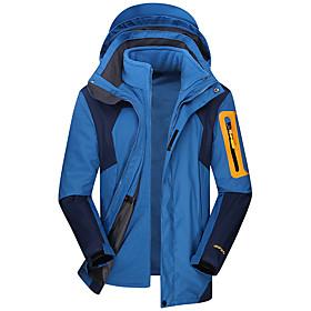 Men's Hoodie Jacket Hiking Jacket Winter Outdoor Solid Color Thermal / Warm Windproof Breathable Rain Waterproof Jacket Top Single Slider Camping / Hiking Outd