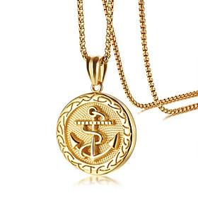 Men's Pendant Necklace Stylish Anchor Fashion scottish Titanium Steel Gold 60 cm Necklace Jewelry 1 set For Daily Date