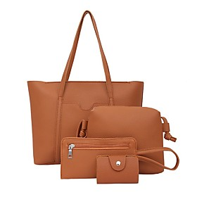 Women's Zipper PU Bag Set Bag Sets 4 Pieces Purse Set Black / Brown / Blushing Pink