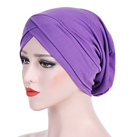 Women's Turban Cotton Rayon Basic Holiday - Solid Colored Pleated Summer All Seasons Wine White Black
