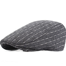 Men's Basic Polyester Beret Hat-Geometric Blue Black Gray