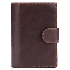 Men's Bags Cowhide Wallet Zipper for Daily / Office  Career Black / Coffee