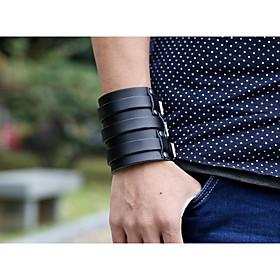 Men's Vintage Bracelet Leather Bracelet Layered Retro Creative Stylish Vintage Punk Genuine Leather Bracelet Jewelry Black For Gift Street