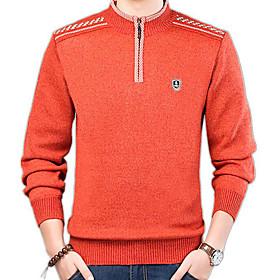 Men's Basic Solid Colored Pullover Long Sleeve Slim Regular Sweater Cardigans Round Neck Blue Orange Khaki