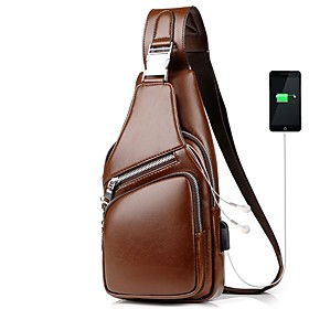 Men's Bags PU Leather Sling Shoulder Bag Zipper Solid Color for Daily / Outdoor Black / Brown / Fall  Winter