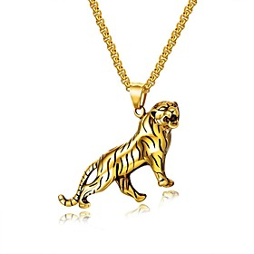 Men's Pendant Necklace Stylish franco chain Tiger Fashion Titanium Steel Gold Silver 55 cm Necklace Jewelry 1 set For Gift Daily