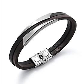 Men's Leather Bracelet Bracelet Stylish Creative Fashion Leather Bracelet Jewelry Black / Silver For Daily Office  Career
