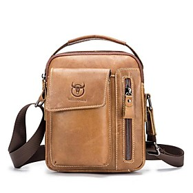 Men's Bags Cowhide Shoulder Messenger Bag / Crossbody Bag Pattern / Print for Daily / Outdoor Dark Brown / Black / Brown / Coffee