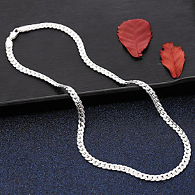 Men's Choker Necklace Chain Necklace Classic Braided Faith Skateboard Fashion Hip-Hop Boho S925 Sterling Silver Silver 50 cm Necklace Jewelry 1pc For Going out