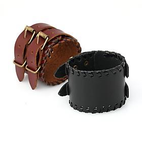 Men's Vintage Bracelet Leather Bracelet Vintage Style Braided Spike Stylish Vintage Punk PU Leather Bracelet Jewelry Black / Brown For Daily Street