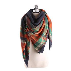 Women's Basic Square Scarf - Color Block Tassel / Fall / Winter