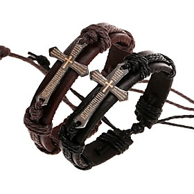 Men's Bracelet Bangles Wrap Bracelet Leather Bracelet Braided Sideways Cross Cross Stylish Unique Design Paracord Bracelet Jewelry Black / Brown For Daily Stre