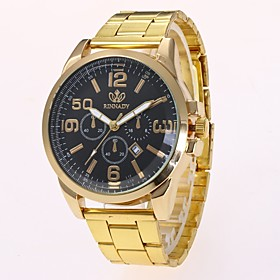 Men's Dress Watch Wrist Watch Quartz Gold Calendar / date / day New Design Casual Watch Analog Classic Casual Fashion - Gold Black One Year Battery Life