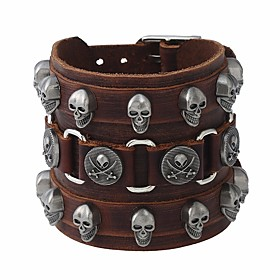 Men's Vintage Bracelet Leather Bracelet Layered Vintage Style Skull Stylish Vintage Punk Leather Bracelet Jewelry Brown For Street Bar