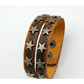 Men's Vintage Bracelet Leather Bracelet Layered Vintage Style Star Stylish Vintage Ethnic Leather Bracelet Jewelry Brown For Daily Street