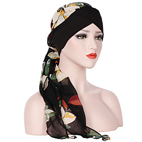 Women's Floppy Hat Chiffon Rayon Basic Holiday - Floral Summer All Seasons Wine Black Red