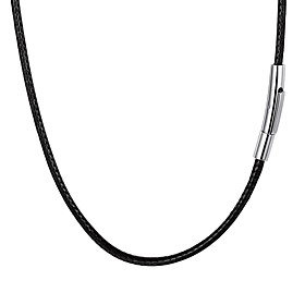 Men's Necklace Braided Fashion Stainless Steel Leather Black 55 cm Necklace Jewelry 1pc For Gift Daily