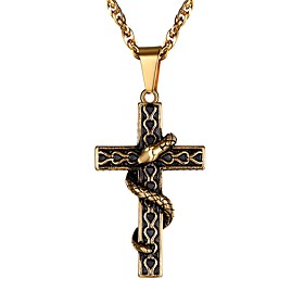 Men's Pendant Necklace Braided Cross Fashion Stainless Steel Black Blue Gold Silver 55 cm Necklace Jewelry 1pc For Gift Daily