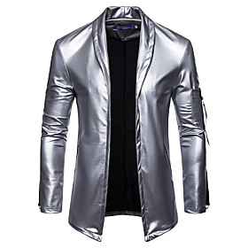 Men's V Neck Fall Faux Leather Jacket Regular Plaid Checkered Daily Basic Long Sleeve Black Gold Silver M L XL / Winter / Sleeveless