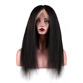 Human Hair Full Lace Wig style Brazilian Hair Burmese Hair Yaki Straight Natural Natural Black Wig 130% Density with Baby Hair Women Easy dressing Best Quality
