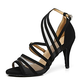 Women's Dance Shoes Latin Shoes / Ballroom Shoes / Line Dance Heel Splicing Flared Heel Black / Yellow / Red / Performance / Practice