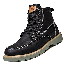 Men's Boots Combat Boots Martin Boots Work Boots Casual Daily PU Non-slipping Mid-Calf Boots Black / Army Green / Khaki Fall