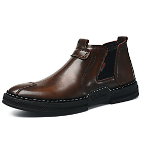Men's Boots Comfort Shoes Combat Boots Chelsea Boots Classic Daily Leather / Cowhide Booties / Ankle Boots Black / Brown Fall  Winter / Rivet / EU40