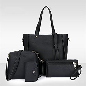 Women's Tassel PU Bag Set Bag Sets 4 Pieces Purse Set Black / Red / Blushing Pink