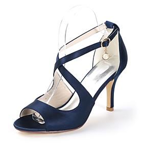 Women's Strappy Stacked Heels Satin Fall / Spring  Summer Minimalism Sandals Stiletto Heel Open Toe Pearl / Buckle Dark Purple / Champagne / Ivory / Wedding /
