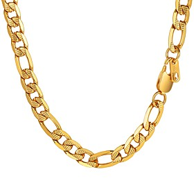 Men's Chain Necklace Figaro Mariner Chain Trendy Fashion Stainless Steel Black Gold Silver 55 cm Necklace Jewelry 1pc For Gift Daily