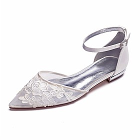 Women's Wedding Shoes Clear / Transparent / PVC Plus Size Flat Heel Pointed Toe Sweet Wedding Party  Evening Rhinestone Sparkling Glitter Solid Colored Satin M