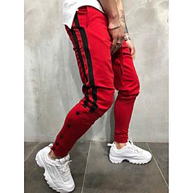 Men's Basic / Street chic Daily Sports Harem / wfh Sweatpants Pants - Striped / Color Block Black  Red / Black  White, Drawstring Black Red Yellow XL XXL XXXL