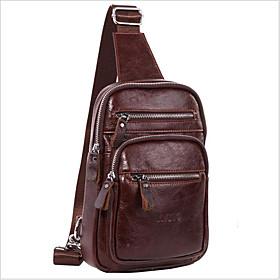 Men's Bags Cowhide Sling Shoulder Bag Zipper for Daily / Office  Career Dark Brown / Brown