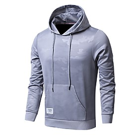 Men's Hoodie  Sweatshirt Camo / Camouflage Knit Running Top Plus Size Long Sleeve Activewear Breathable Quick Dry Anatomic Design Sweat-wicking Stretchy Regula