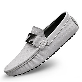 Men's Loafers  Slip-Ons Leather Shoes Moccasin Casual / British Daily Office  Career Nappa Leather Massage Non-slipping Wear Proof White / Black / Blue Spring