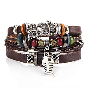 Men's Leather Bracelet Braided Fish Owl Artistic Unique Design PU(Polyurethane) Bracelet Jewelry Brown For Evening Party Street