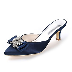 Women's Wedding Shoes Glitter Crystal Sequined Jeweled Plus Size Kitten Heel Pointed Toe Sweet Wedding Party  Evening Rhinestone Bowknot Solid Colored Satin Wh