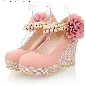 Women's Heels Glitter Crystal Sequined Jeweled Wedge Heel PU Fall Pink / Blue / Beige / Daily