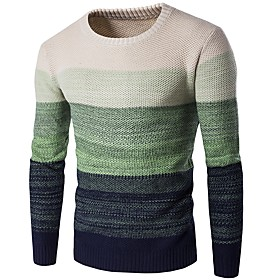 Men's Basic Color Block Pullover Long Sleeve Slim Long Sweater Cardigans Round Neck Fall Winter Blue Wine Green