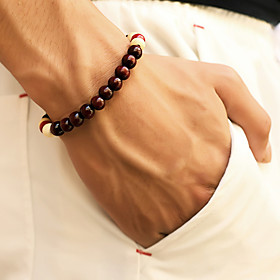 Men's Bead Bracelet Beads Cheap Simple Casual / Sporty Wooden Bracelet Jewelry Black / Brown / Red For Daily Street Going out