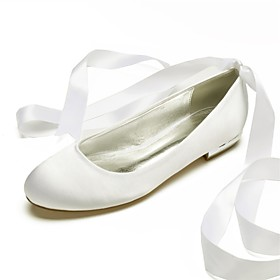 Women's Wedding Shoes Lace up Plus Size Flat Heel Round Toe Minimalism Wedding Ribbon Tie Solid Colored Satin Summer White / Black / Purple / EU39