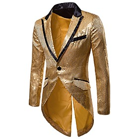 Men's V Neck Blazer Regular Solid Colored Party Going out Weekend Basic Streetwear Winter Sequins Long Sleeve Black / Red / Gold S / M / L