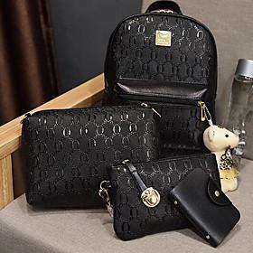 Women's PU Bag Set Bag Sets Solid Color 4 Pieces Purse Set Black / Beige / Fall  Winter