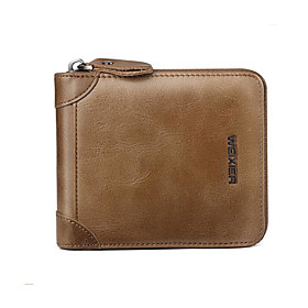 Men's Bags Cowhide Wallet Zipper Solid Color for Daily Dark Brown / Black / Khaki