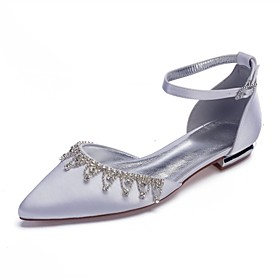 Women's Wedding Shoes Glitter Crystal Sequined Jeweled Plus Size Flat Heel Pointed Toe Classic Wedding Party  Evening Sparkling Glitter Tassel Solid Colored Sa