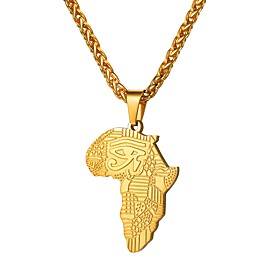 Men's Pendant Necklace Classic Map Eyes The Eye of Horus Fashion Africa Hip Hop Stainless Steel Rose Gold Black Gold Silver RoseGolden Letter 55 cm Necklace Je