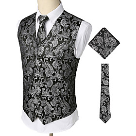 Men's V Neck Vest Regular Paisley Party Work Club Business Vintage Spring Fall Print Sleeveless Silver S / M / L / Winter / Business Casual / Slim