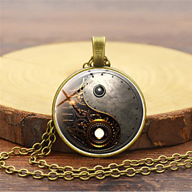 Men's Pendant Necklace Retro yin yang Vintage Chinoiserie Steampunk Kinetic Glass Alloy Black Gold Silver 455 cm Necklace Jewelry 1pc For Masquerade Profession